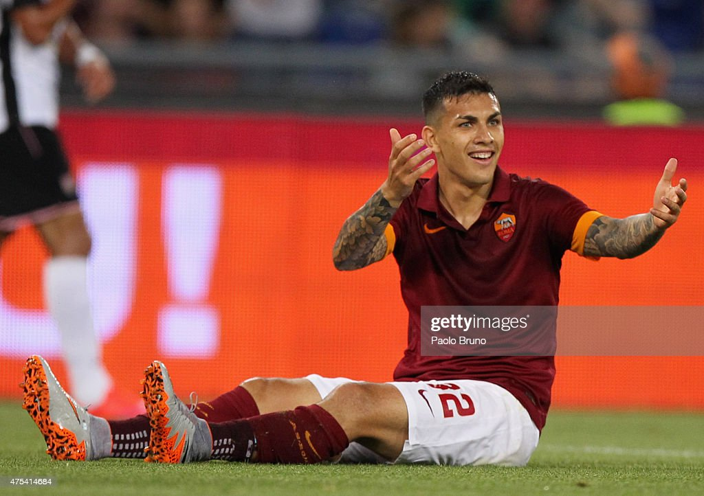 <a gi-track='captionPersonalityLinkClicked' href=/galleries/search?phrase=Leandro+Paredes&family=editorial&specificpeople=7626324 ng-click='$event.stopPropagation()'>Leandro Paredes</a> of AS Roma reacts during the Serie A match between AS Roma and US Citta di Palermo at Stadio Olimpico on May 31, 2015 in Rome, Italy.