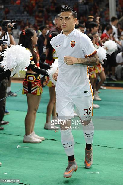 Leandro Paredes of AS Roma walks into the field during the international friendly match between AS Roma A and AS Roma B at Gelora Bung Karno Stadium...