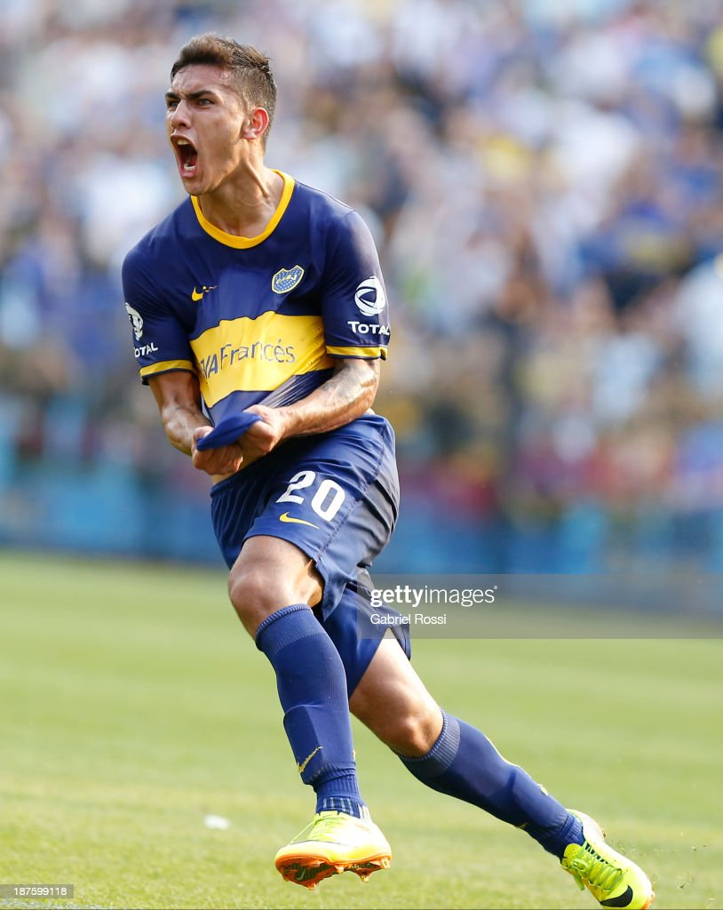 <a gi-track='captionPersonalityLinkClicked' href=/galleries/search?phrase=Leandro+Paredes&family=editorial&specificpeople=7626324 ng-click='$event.stopPropagation()'>Leandro Paredes</a> of Boca Juniors celebrates the first goal during a match between Boca Juniors and Tigre as part of round 15th of Torneo Inicial at Alberto J. Armando Stadium on November 10, 2013 in Buenos Aires, Argentina.