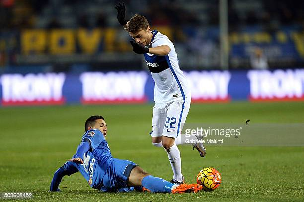 Leandro Paredes of Empoli FC battles for the ball with Adem Ljajic of FC Internazionale Milano during the Serie A match between Empoli FC and FC...