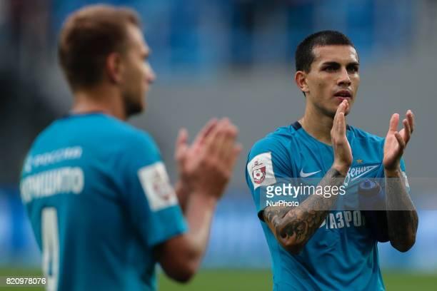 Leandro Paredes of FC Zenit Saint Petersburg celebrate winning after the Russian Football League match between FC Zenit St Petersburg and FC Rubin...