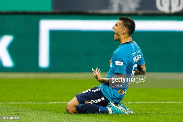 Leandro Paredes of FC Zenit Saint Petersburg celebrates his goal during the Russian Football League match between FC Zenit St Petersburg and FC...