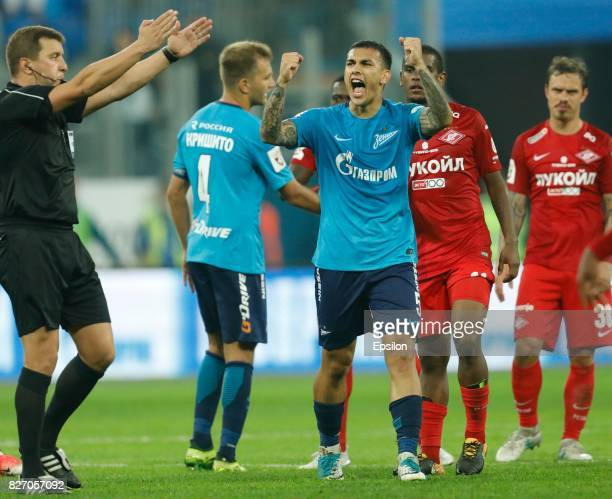 Leandro Paredes of FC Zenit Saint Petersburg celebrates victory during the Russian Football League match between FC Zenit St Petersburg and FC...