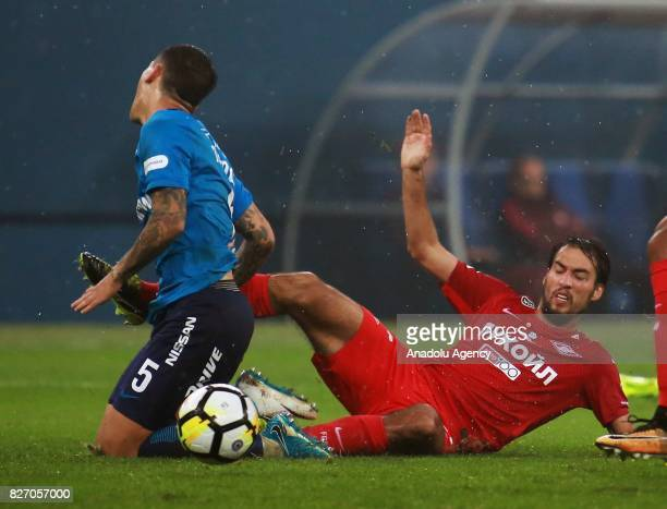 Leandro Paredes of FC Zenit SaintPetersburg in action against Ivelin Popov of FC Spartak Moscow during the Russian Premiere League match between...