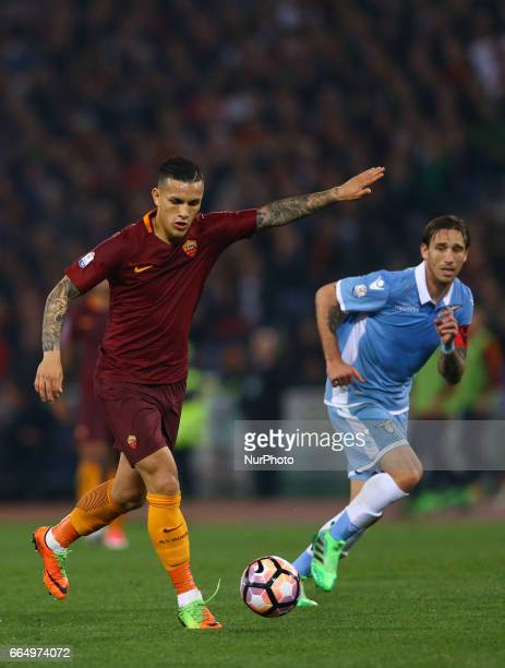 Leandro Paredes of Roma and Lucas Biglia of Lazio during the TIM Cup match between AS Roma and SS Lazio at Stadio Olimpico on April 4 2017 in Rome...