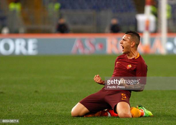 Leandro Paredes of Roma celebrates after scoring during the Europa League round of 16 second leg football match between Roma and Lyon at the Olympic...