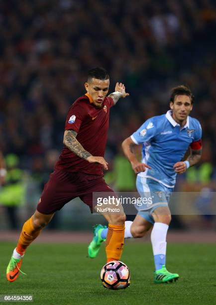 Leandro Paredes of Roma during the TIM Cup match between AS Roma and SS Lazio at Stadio Olimpico on April 4 2017 in Rome Italy