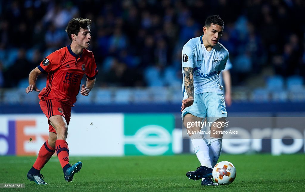 Leandro Paredes of Zenit St. Petersburg scoring his team's third goal during the UEFA Europa League group L football match between Real Sociedad de Futbol and FC Zenit Saint Petersburg at Estadio Anoeta on December 7, 2017 in San Sebastian, Spain.