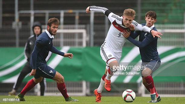 Leandro Putaro of Germany and Theo Hernandez of France during the U19 FourNationsCup Germany vs France on November 17 2015 in Homburg Germany