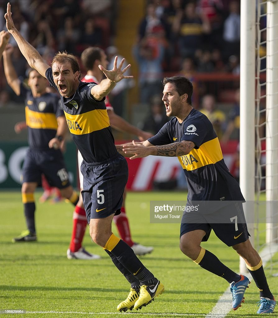 Leandro Somoza of Boca Jrs celebrates after scoring during the match between Toluca from Mexico and Boca Jrs from Argentina as part of the Copa Bridgestone Libertadores 2013 at Nemesio Diez Stadium on April 17, 2013 in Toluca .