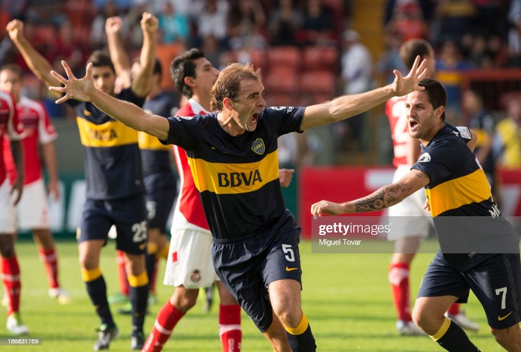 Leandro Somoza of Boca Jrs celebrates after scoring during the match between Toluca from Mexico and Boca Jrs from Argentina as part of the Copa Bridgestone Libertadores 2013 at Nemesio Diez Stadium on April 17, 2013 in Toluca.
