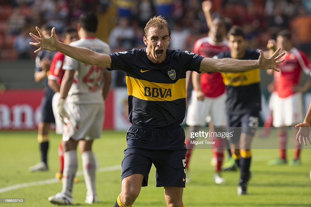 Leandro Somoza of Boca Jrs celebrates during the match between Toluca from Mexico and Boca Jrs from Argentina as part of the Copa Bridgestone Libertadores 2013 at Nemesio Diez Stadium on April 17, 2013 in Toluca.