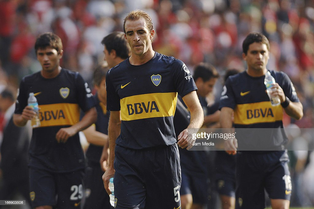 Leandro Somoza of Boca Juniors reacts during the match between Toluca from Mexico and Boca Jrs from Argentina as part of the Copa Bridgestone Libertadores 2013 at Nemesio Diez Stadium on April 17, 2013 in Toluca, Mexico.