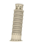 Leaning Pisa Tower isolated on white background. 3D render