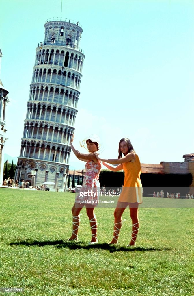 Leaning Tower of Pisa - 2 Teen Girls in Mini Dress