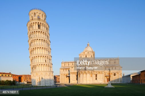 Leaning Tower of Pisa and cathedral, sunrise.
