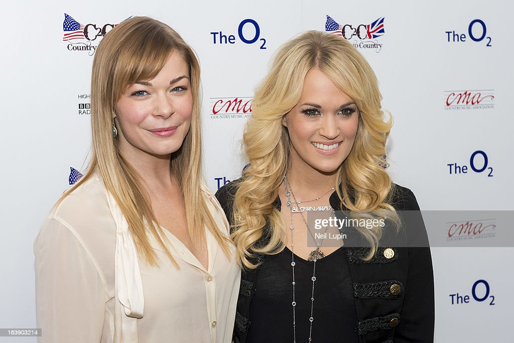 LeAnn Rimes and <a gi-track='captionPersonalityLinkClicked' href=/galleries/search?phrase=Carrie+Underwood&family=editorial&specificpeople=204483 ng-click='$event.stopPropagation()'>Carrie Underwood</a> attend a photo call and media interviews ahead of performing on Day 2 of C2C: Country To Country Festival 2013 at O2 Arena on March 17, 2013 in London, England.