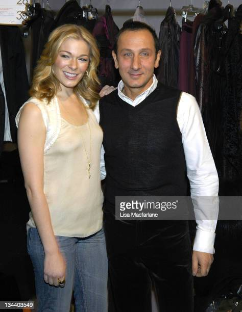LeAnn Rimes and Gilles Mendel designer during Olympus Fashion Week Fall 2006 J Mendel Front Row and Backstage at Bryant Park in New York City New...