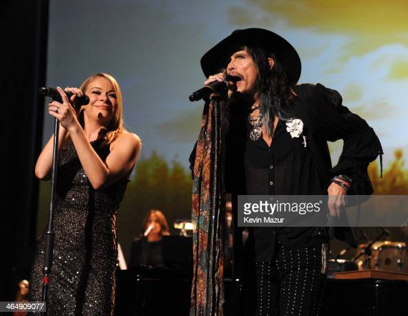 LeAnn Rimes and Steven Tyler perform onstage at 2014 MusiCares Person Of The Year Honoring Carole King at Los Angeles Convention Center on January 24...