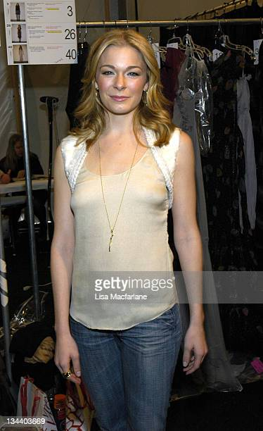 LeAnn Rimes during Olympus Fashion Week Fall 2006 J Mendel Front Row and Backstage at Bryant Park in New York City New York United States