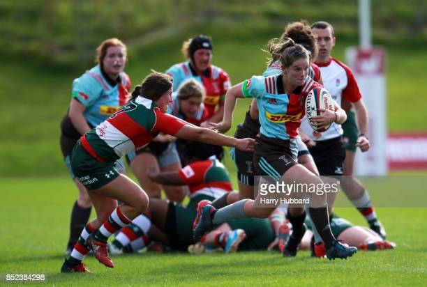 Leanna Riley of Harlequins Ladies and Claire Hutchinson of Firwood Waterloo Ladies in action during the Tyrrells Premier 15s match between Harlequins...