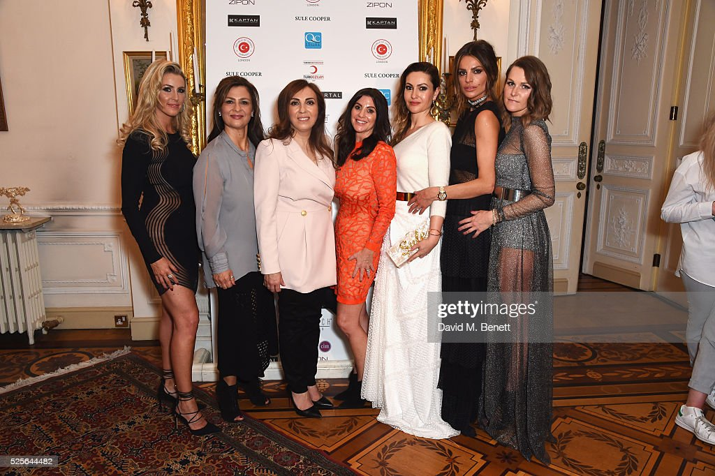 Leanne Brown, guest, Zeynep Kartal, Stacey Forsey, Sule Cooper, Misse Beqiri and Lady Jude Cisse attend the Zeynep Kartal catwalk show in support of the Syrian children refugee crisis charity Turk Kizilayi on April 28, 2016 in London, England.