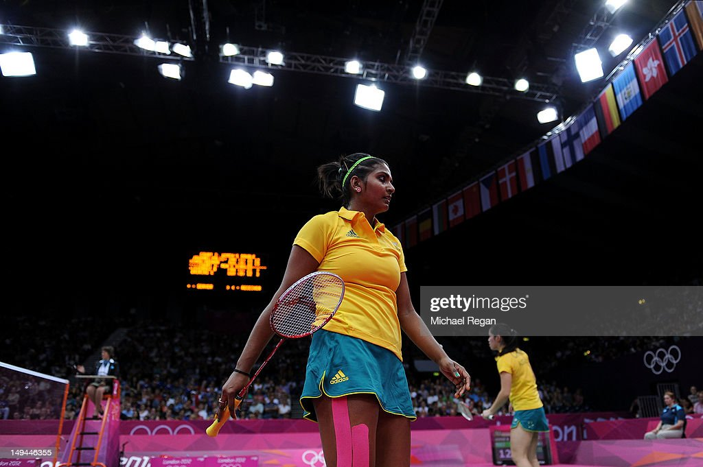 Leanne Choo (R) and Renuga Veeran (L) of Australia react after a shot against Greysia Polii and Meiliana Jauhari of Indonesia during their Women's Doubles Badminton on Day 1 of the London 2012 Olympic Games at Wembley Arena on July 28, 2012 in London, England.