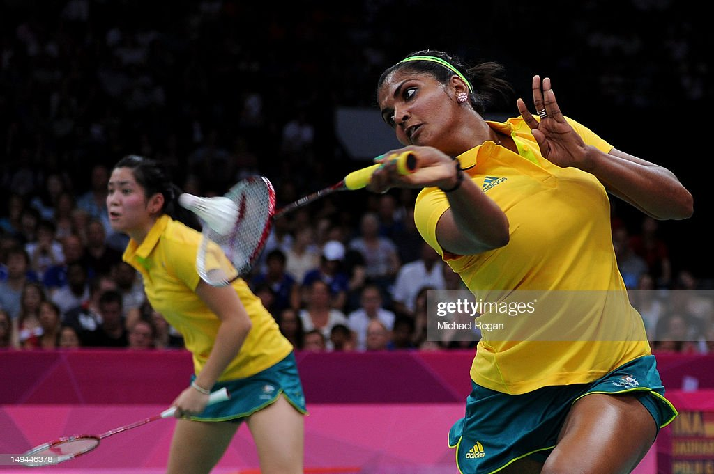 Leanne Choo (L) and Renuga Veeran (R) of Australia return a shot against Greysia Polii and Meiliana Jauhari of Indonesia during their Women's Doubles Badminton on Day 1 of the London 2012 Olympic Games at Wembley Arena on July 28, 2012 in London, England.