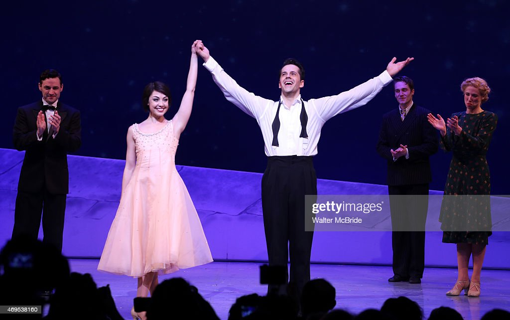 Leanne Cope and Robert Fairchild with the cast during the Broadway Opening Night Curtain Call for 'An American In Paris' at The Palace Theatre on April 12, 2015 in New York City.