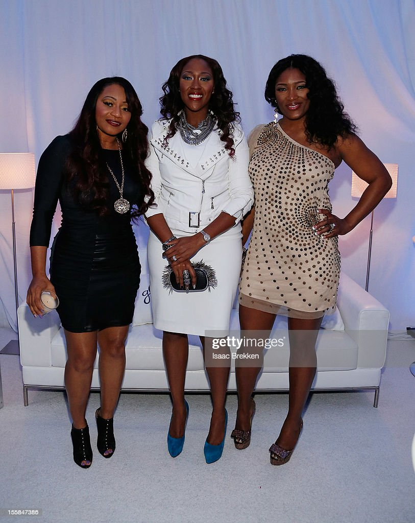 Leanne 'Lelee' Lyons, Cheryl 'Coko' Clemons, and Tamara 'Taj' Johnson-George of the R&B group SWV arrive at the Glade Suite at the Soul Train Awards 2012 at PH Live at Planet Hollywood Resort & Casino on November 8, 2012 in Las Vegas, Nevada.
