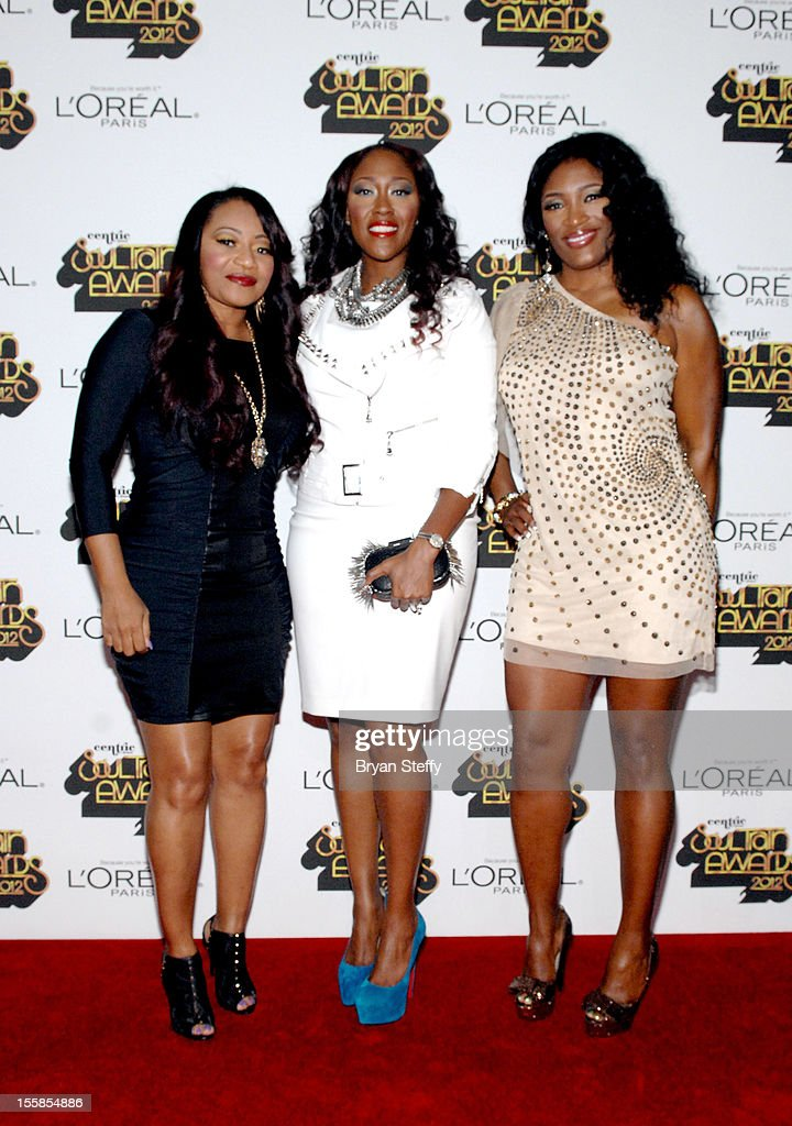 Leanne 'Lelee' Lyons, Cheryl 'Coko' Clemons, and Tamara 'Taj' Johnson-George of the R&B group SWV arrive at the Loreal Style Stage at the Soul Train Awards 2012 at PH Live at Planet Hollywood Resort & Casino on November 8, 2012 in Las Vegas, Nevada.