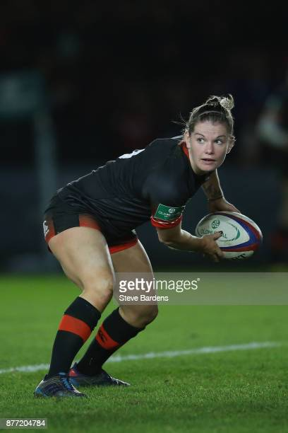 Leanne Riley of England Women in action during the Old Mutual Wealth Series match between England Women and Canada Women at Twickenham Stoop on...