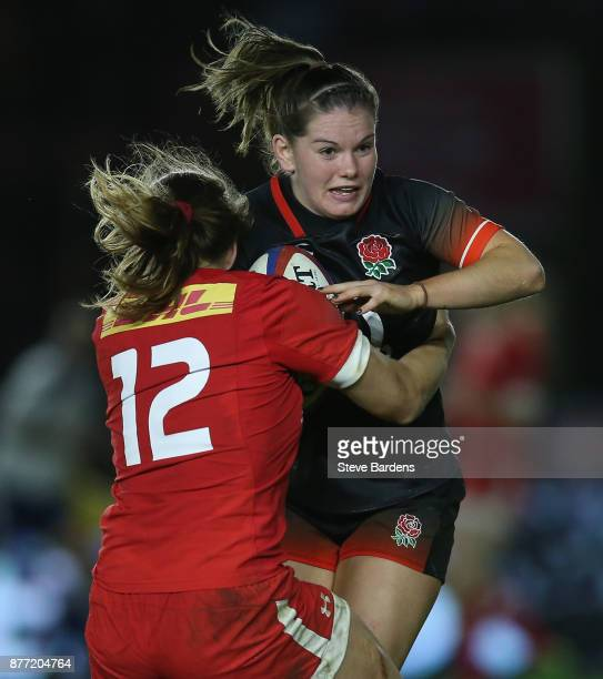 Leanne Riley of England women is tackled by Nadia Popov of Canada women during the Old Mutual Wealth Series match between England Women and Canada...