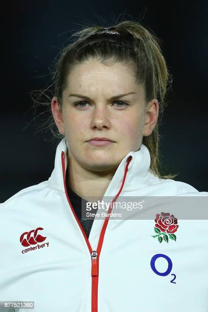 Leanne Riley of England Women looks on prior to the Old Mutual Wealth Series match between England Women and Canada Women at Twickenham Stoop on...
