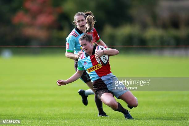 Leanne Riley of Harlequins Ladies scores a try during the Tyrrells Premier 15s match between Harlequins Ladies and Firwood Waterloo Ladies at Surrey...