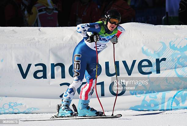 Leanne Smith of the United States competes in the women's alpine skiing SuperG on day nine of the Vancouver 2010 Winter Olympics at Whistler...