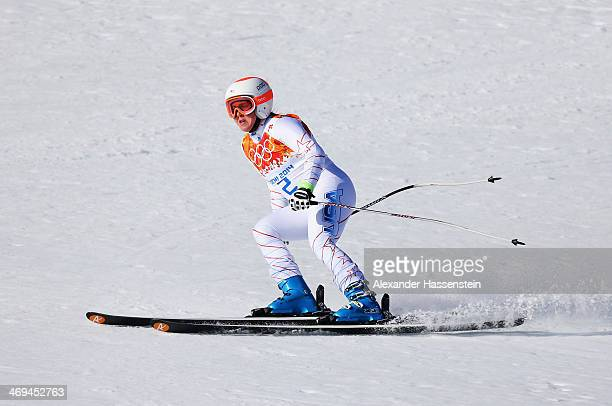 Leanne Smith of the United States finishes a run during the Alpine Skiing Women's SuperG on day 8 of the Sochi 2014 Winter Olympics at Rosa Khutor...