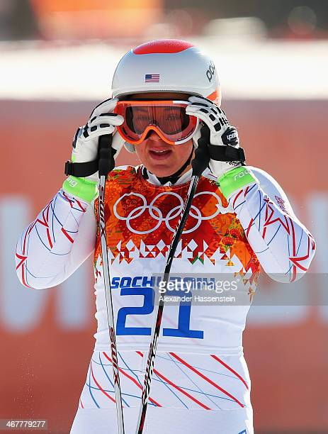 Leanne Smith of the United States finishes a run during training for the Alpine Skiing Women's Downhill during the Sochi 2014 Winter Olympics at Rosa...
