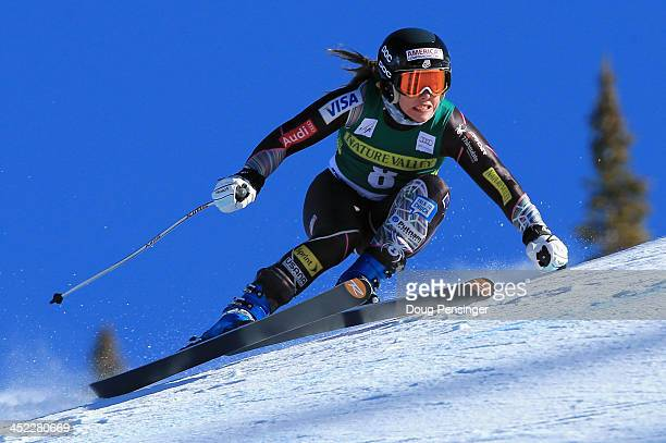 Leanne Smith of the United States in action during ladies' downhill training on Raptor for the Audi FIS Alpine World Cup on November 27 2013 in...
