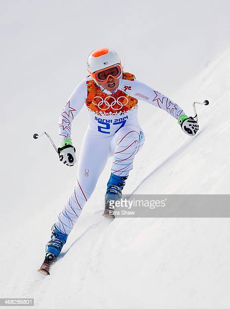 Leanne Smith of the United States in action during the Alpine Skiing Women's Super Combined Downhill on day 3 of the Sochi 2014 Winter Olympics at...