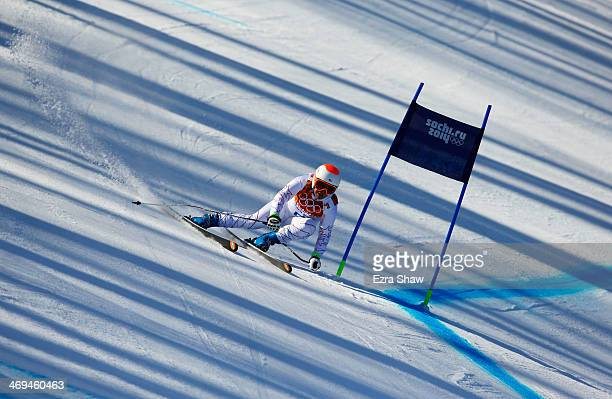 Leanne Smith of the United States in action during the Alpine Skiing Women's SuperG on day 8 of the Sochi 2014 Winter Olympics at Rosa Khutor Alpine...