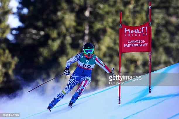 Leanne Smith of the United States of America skis in the Women's Downhill Training during the Alpine FIS Ski World Championships on the Kandahar...
