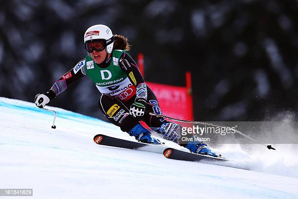 Leanne Smith of the United States of America skis in the Women's Downhill during the Alpine FIS Ski World Championships on February 10 2013 in...