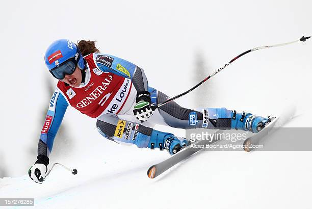 Leanne Smith of the USA competes during the Audi FIS Alpine Ski World Cup Women's Downhill on December 1 2012 in Lake Louise Canada