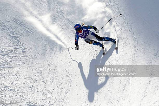 Leanne Smith of the USA competes during the Audi FIS Alpine Ski World Cup Women's Downhill training on January 18 2013 in Cortina d'Ampezzo Italy