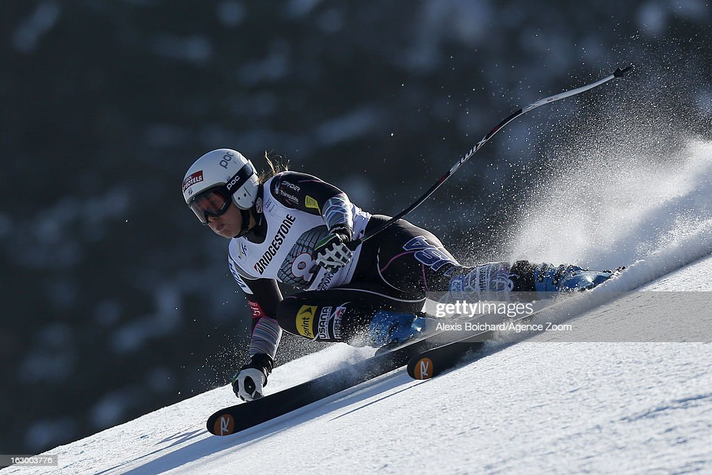 Leanne Smith of the USA competes during the Audi FIS Alpine Ski World Cup Women's SuperG on March 03, 2013 in Garmisch-Partenkirchen, Germany.