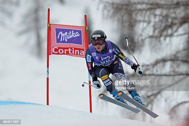 Leanne Smith of The USA competes during the FIS Alpine Ski World Cup Women's downhill race on January 24 2014 in Cortina d'Ampezzo Italy