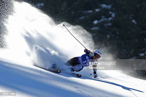 Leanne Smith of the USA races down the course competing in the Audi FIS Ski World Cup Women's SuperG on March 01 2013 in Garmisch Partenkirchen...