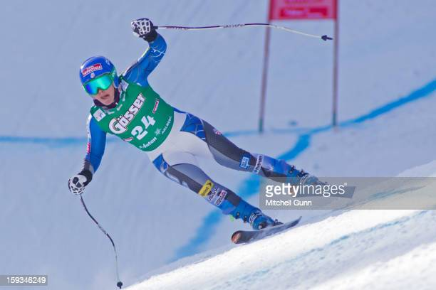 Leanne Smith of the USA races down the Kandahar course whilst competing in the Audi FIS Alpine Ski World Cup downhill race on January 12 2013 in St...