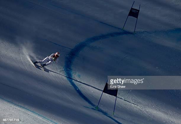 Leanne Smith of the USA skis during training for the Alpine Skiing Women's Downhill during the Sochi 2014 Winter Olympics at Rosa Khutor Alpine...